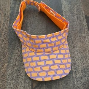 Marc Jacobs orange neon brick pattern visor velcro